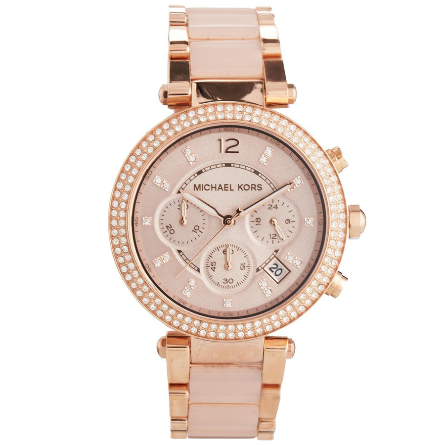 michael kors ladies parker rose gold blush chronograph. Black Bedroom Furniture Sets. Home Design Ideas