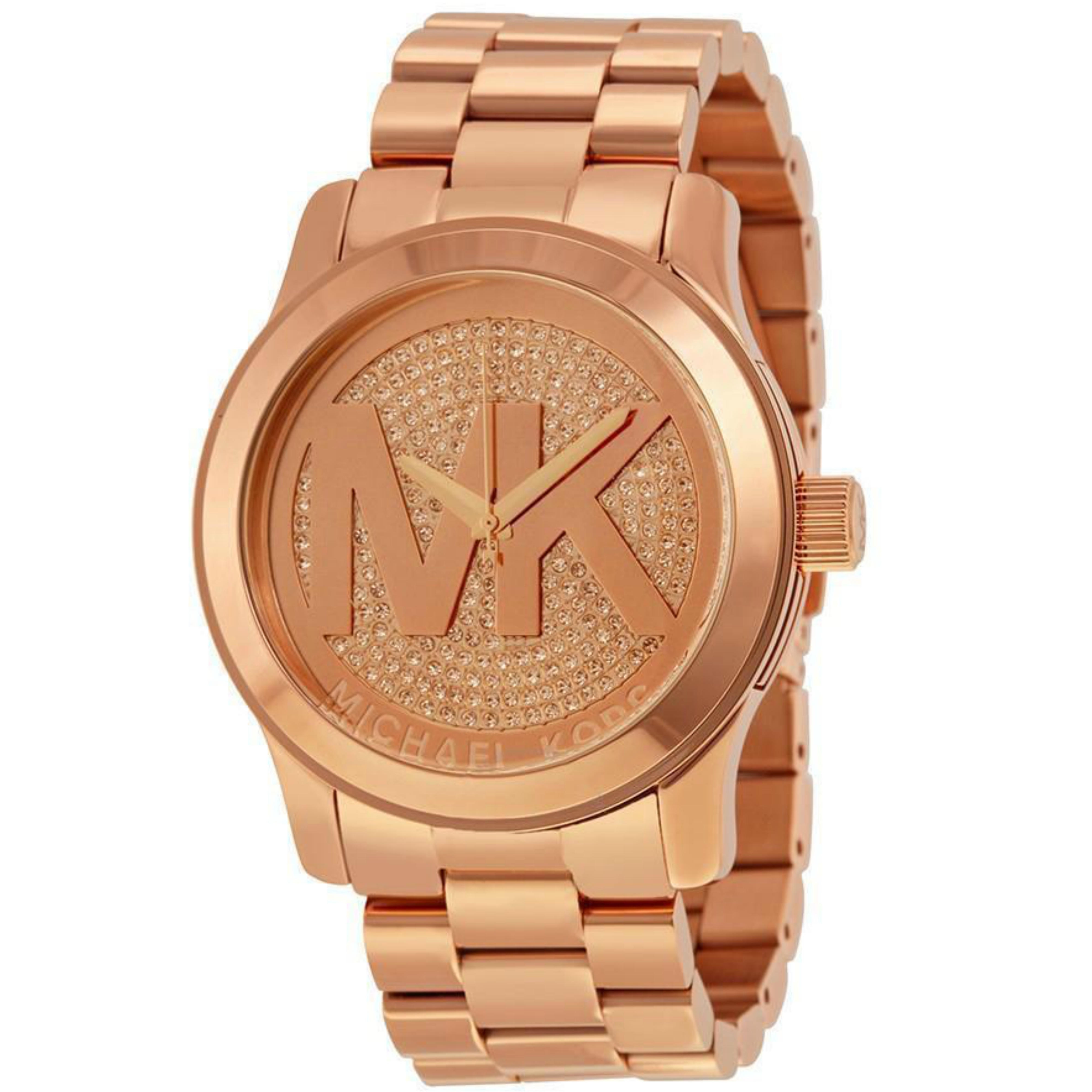 9df50bf06b2d Details about Michael Kors Ladies  Runway Oversize Logo Design Rose Gold  Daimond Watch MK5661