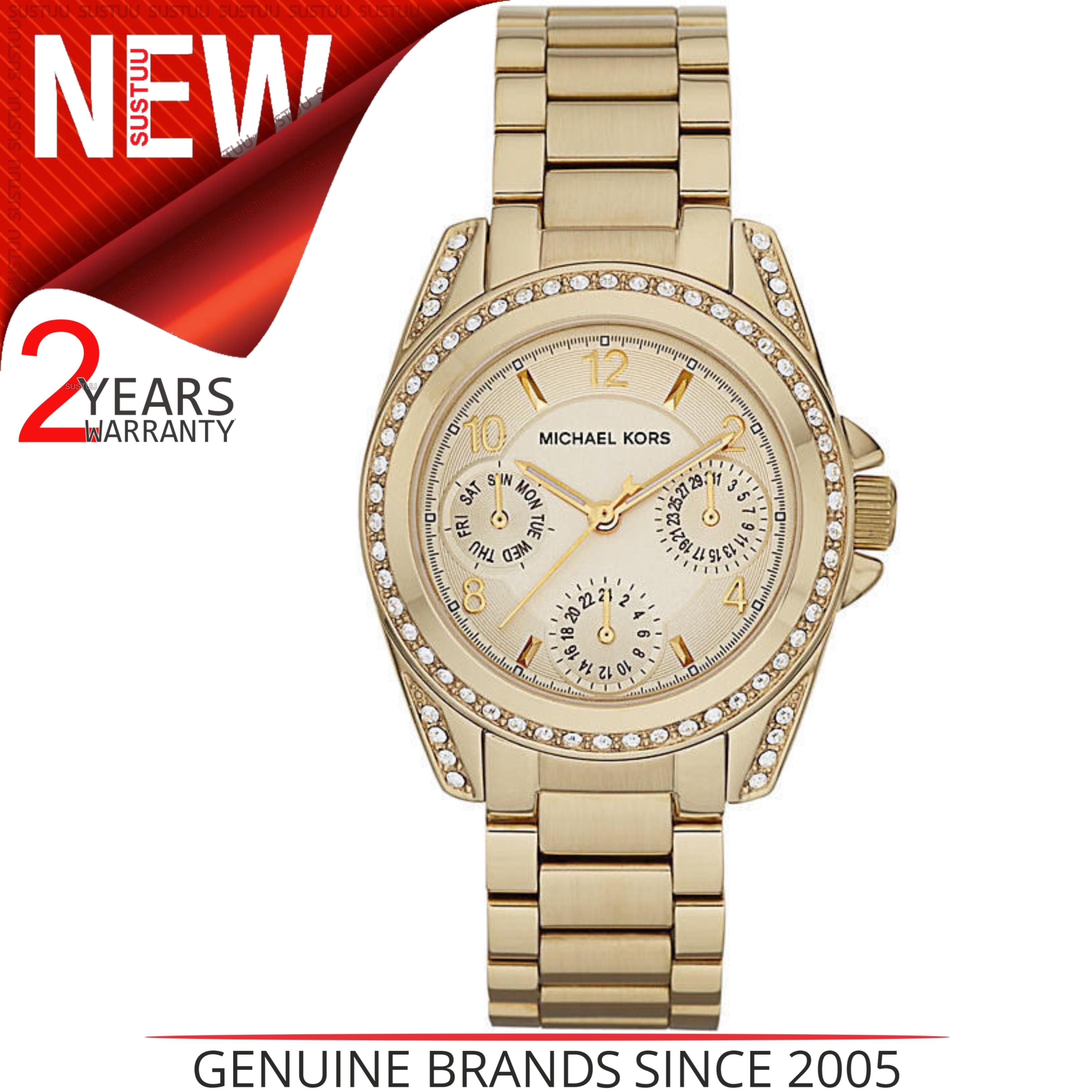 6e8c77156 Sentinel Michael Kors Ladies' Blair Gold Tone Chronograph Designer Round  Watch MK5639