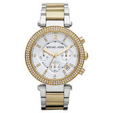 Michael Kors Ladies' Parker Gold & Silver Tone Chronograph Designer Watch MK5626