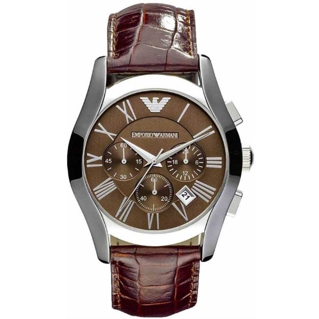 Emporio Armani Classic Men's Brown Leather Strap Chrono Designer Watch AR0671