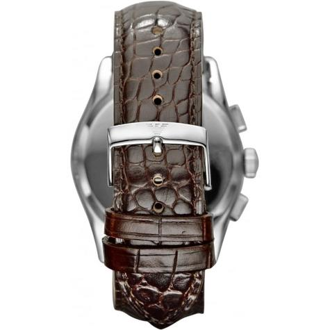 Emporio Armani Classic Men's Brown Leather Strap Chrono Designer Watch AR0671 Thumbnail 3