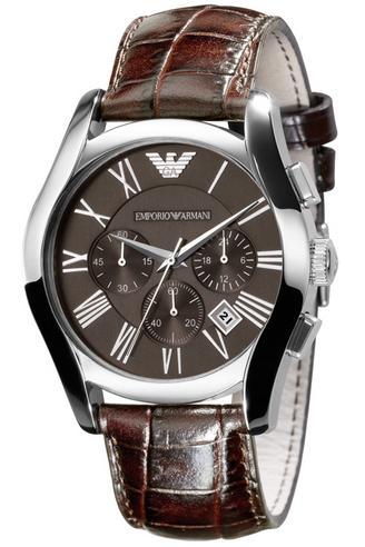 Emporio Armani Gent's Brown Leather Strap Chronograph Designer Watch AR0671 Thumbnail 2