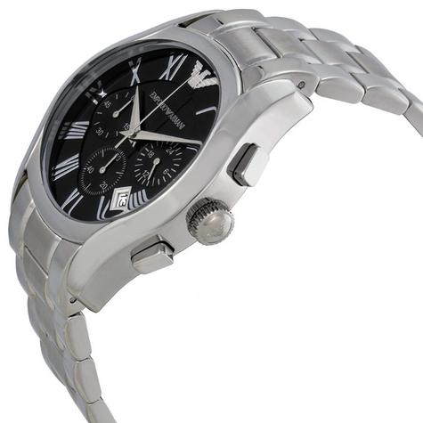 Emporio Armani Gents' Black Dial Stainless Steel Chronorgaph Round Watch AR0673 Thumbnail 2