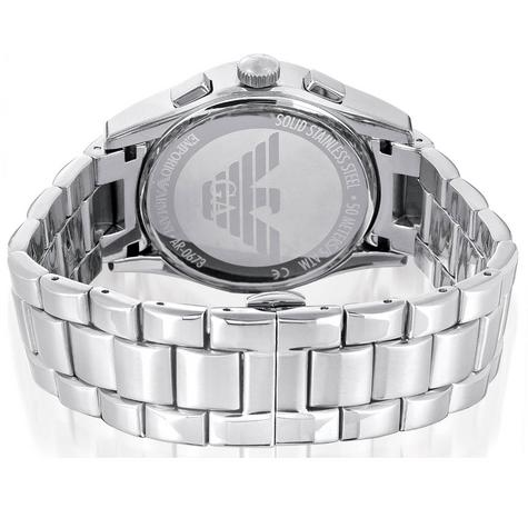 Emporio Armani Gents' Black Dial Stainless Steel Chronorgaph Round Watch AR0673 Thumbnail 6