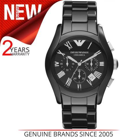 Emporio Armani Ceramica Men's Valente Black Dial Chrono Designer Watch AR1400 Thumbnail 1