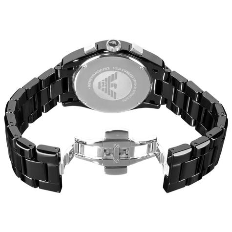 Emporio Armani Ceramica Men's Valente Black Dial Chrono Designer Watch AR1400 Thumbnail 4