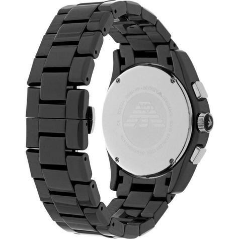 Emporio Armani Ceramica Men's Valente Black Dial Chrono Designer Watch AR1400 Thumbnail 3