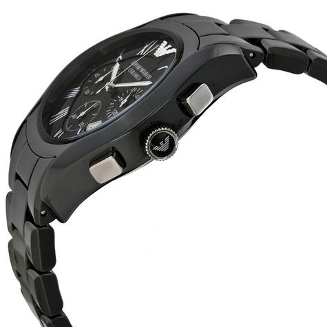 Emporio Armani Ceramica Men's Valente Black Dial Chrono Designer Watch AR1400 Thumbnail 2