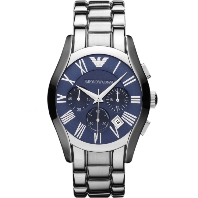 Emporio Armani Classic Gent's Stainless Steel Chronograph Blue Dial Watch AR1635