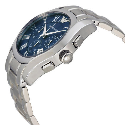 Emporio Armani Classic Gent's Stainless Steel Chronograph Blue Dial Watch AR1635 Thumbnail 3