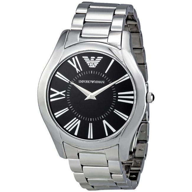 Emporio Armani Gent's Super Slim Black Dial Stainless Steel Bracelet Watch 2022