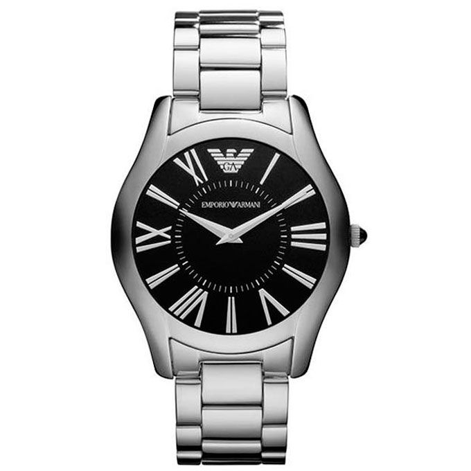 Emporio Armani Gent's Super Slim Black Dial Stainless Steel Bracelet Watch 2022
