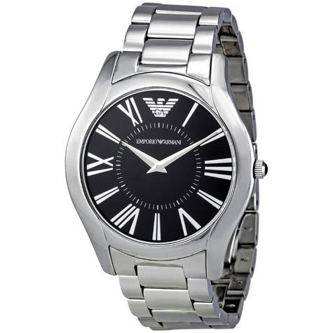 Emporio Armani Gent's Super Slim Black Dial Stainless Steel Bracelet Watch 2022 Thumbnail 1