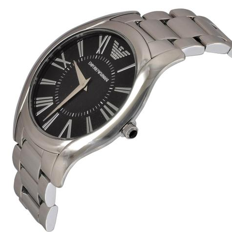 Emporio Armani Gent's Super Slim Black Dial Stainless Steel Bracelet Watch 2022 Thumbnail 3