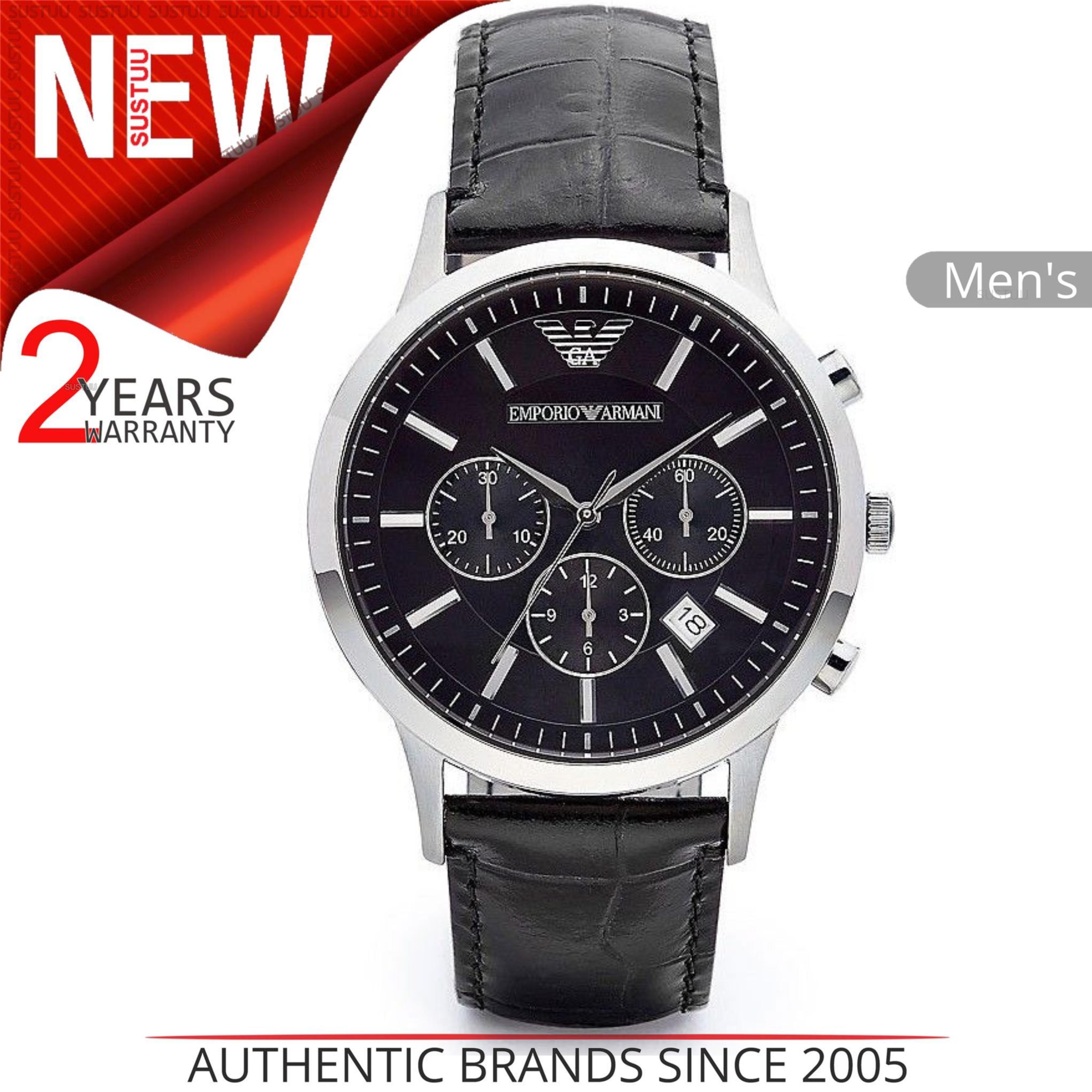 Emporio Armani Men's Black Leather Strap Chrono Design Steel Case Watch AR2447 