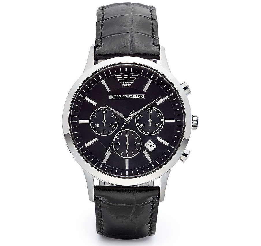 Emporio Armani Men's Black Leather Strap Chrono Design Steel Case Watch AR2447