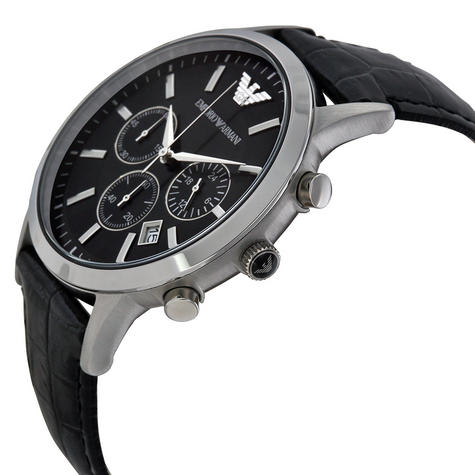 Emporio Armani Men's Black Leather Strap Chrono Design Steel Case Watch AR2447 Thumbnail 2