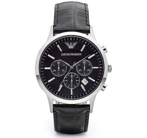 Emporio Armani Men's Black Leather Strap Chrono Design Steel Case Watch AR2447 Thumbnail 1