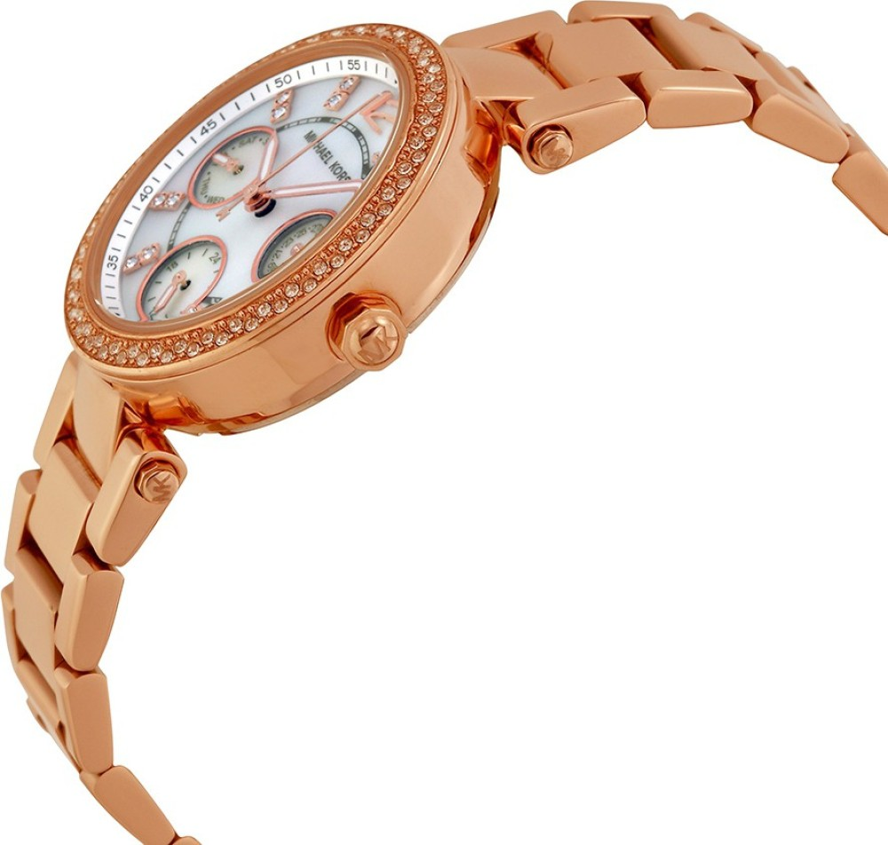 Michael Kors Parker Ladies|Pavé Rose Gold Tone|Chronograph ...