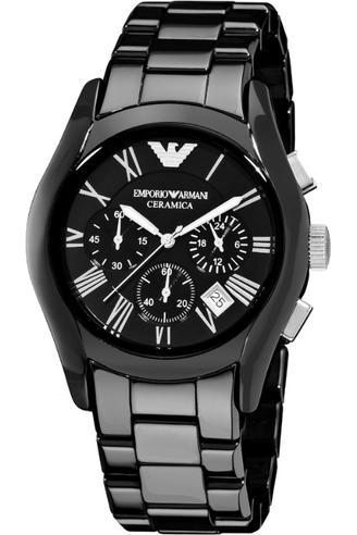 Emporio Armani Ceramica Men's Valente Black Dial Chrono Designer Watch AR1400 Thumbnail 5
