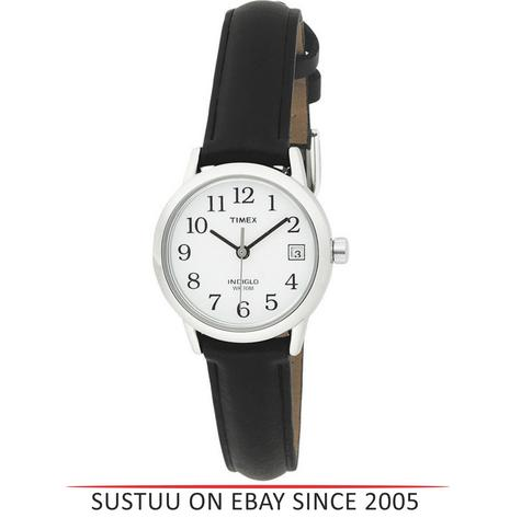 Timex T2H331 Womens Easy Reader White Dial Leather Strap Watch - Black/Silver Thumbnail 1