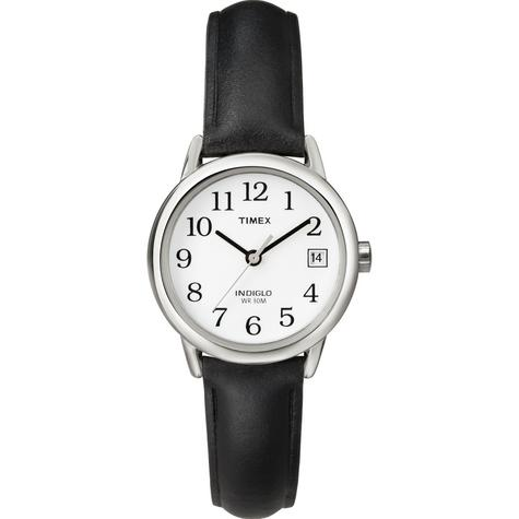 Timex T2H331 Womens Easy Reader White Dial Leather Strap Watch - Black/Silver Thumbnail 2