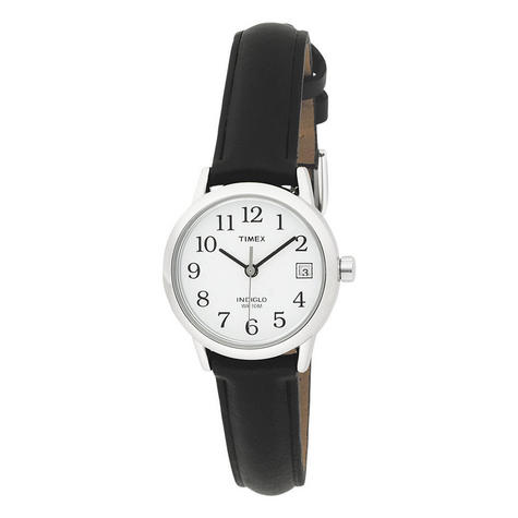 Timex T2H331 Womens Easy Reader White Dial Leather Strap Watch - Black/Silver Thumbnail 4
