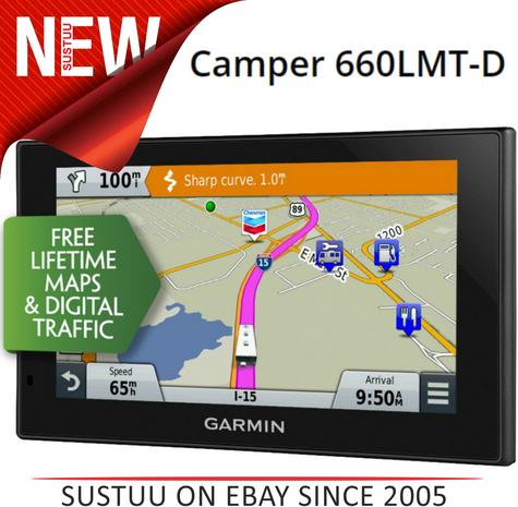 NEW Garmin Camper 660LMT-D Motorhome Caravan GPS SATNAV Lifetime Maps & Traffic Thumbnail 1