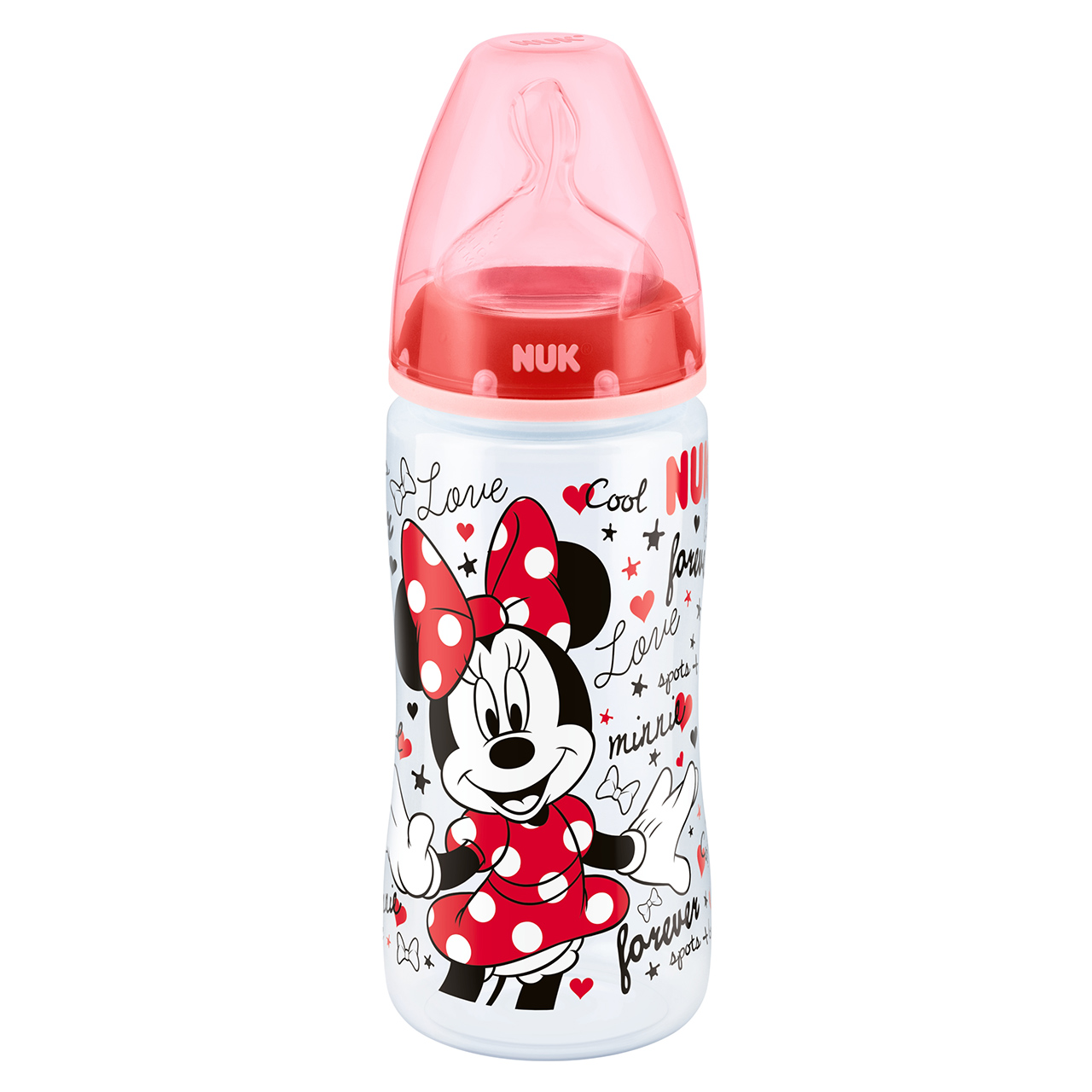 NUK First Choice Disney Mickey & Minnie Baby Bottle 300ml Size 2 Silicone Teat