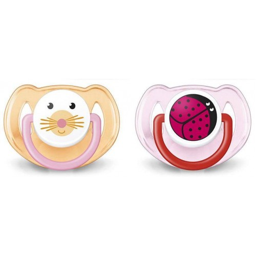 Avent Orthodontic Animal Design Dummy Pacifier Slicone Baby Soother Pink/Orange
