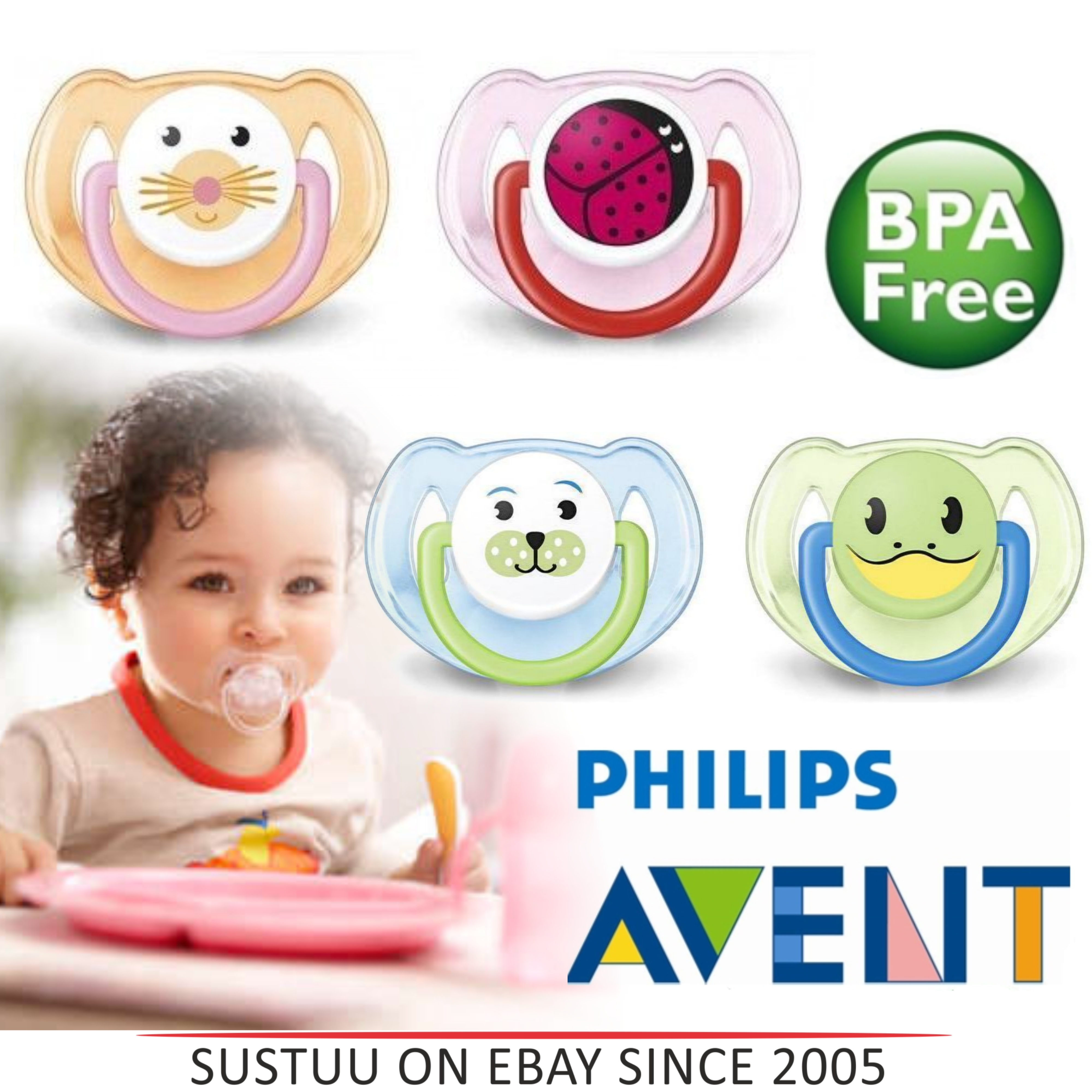 Philips Avent Orthodontic Dummy Animal Design Pacifier Slicone Teat Baby Soother