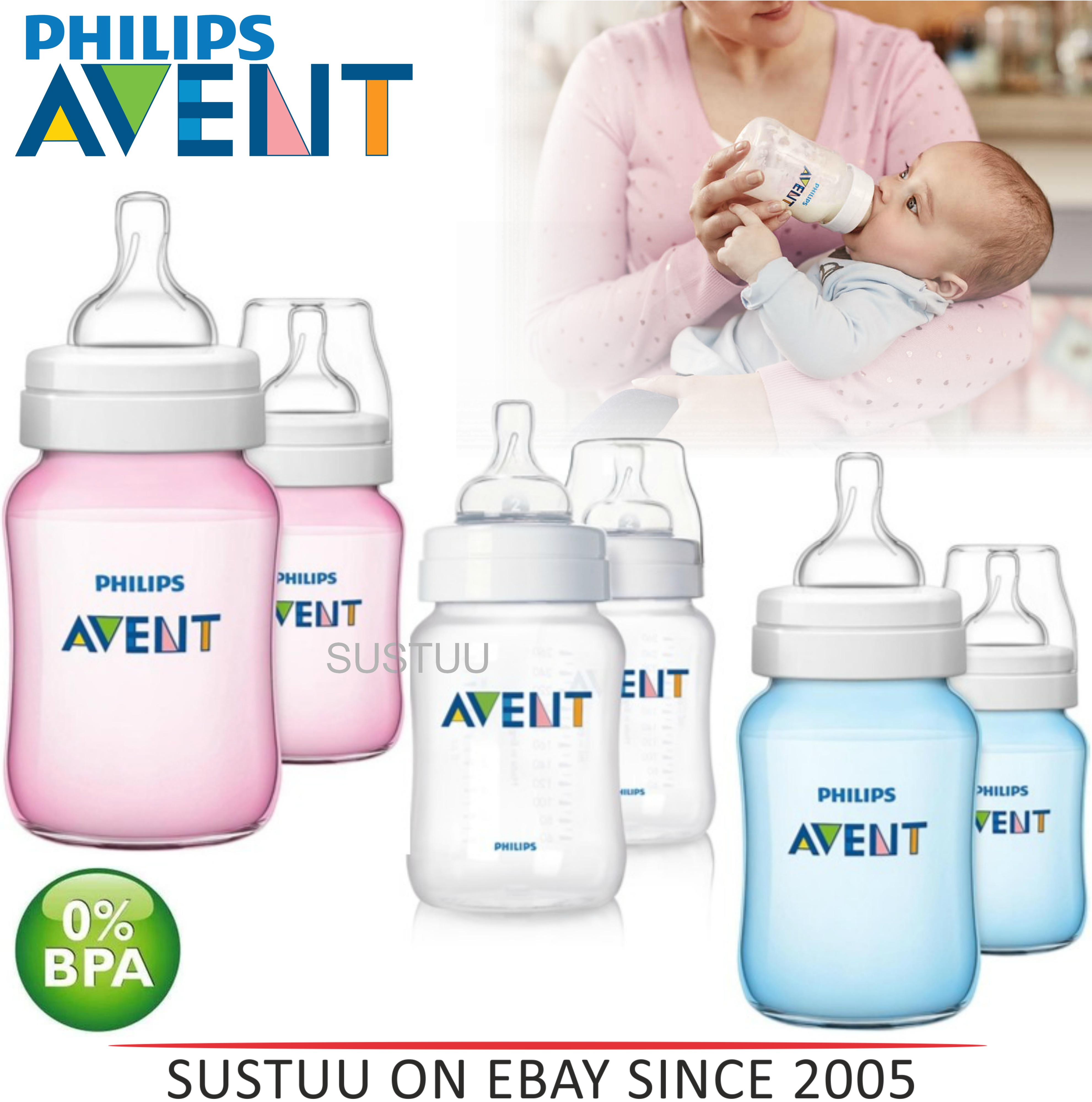 Avent Classic+  Anti-Colic Baby Slow Flow Feeding Milk Bottle 260ml/ 9oz 2 Pack