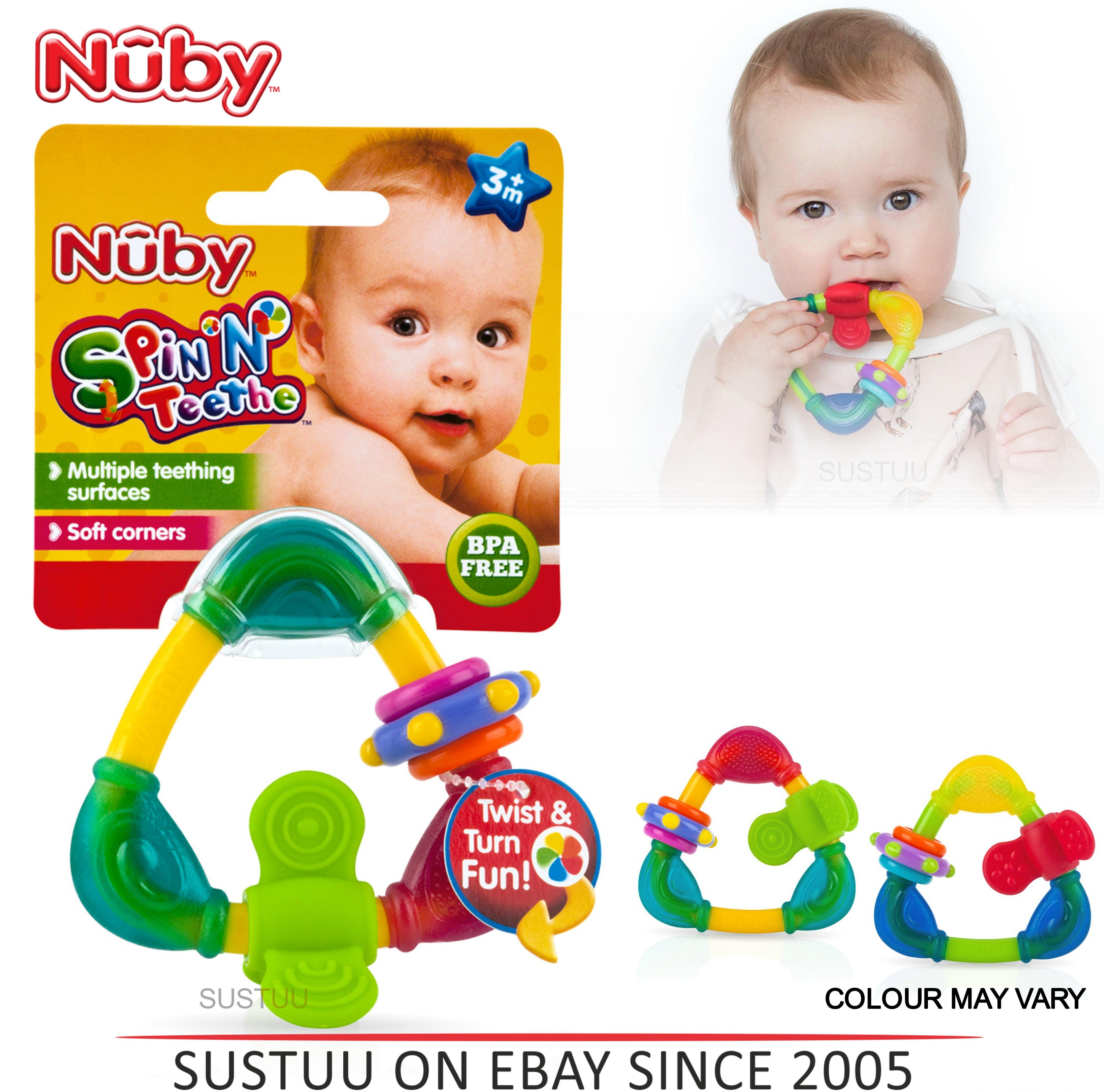 Nuby Spin & Teethe Baby Non-toxic Movable Fun Colourful Teether Infant Toy 3m+
