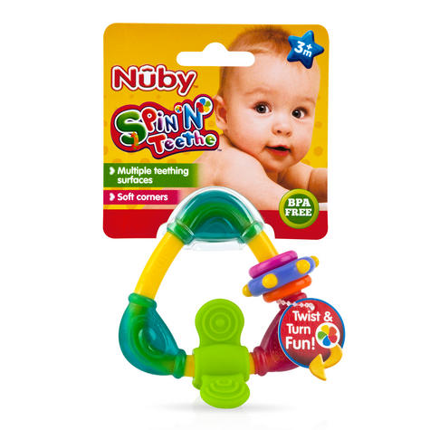 Nuby Spin & Teethe Baby Non-toxic Movable Fun Colourful Teether Infant Toy 3m+ Thumbnail 3