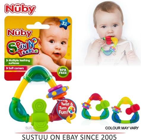 Nuby Spin & Teethe Baby Teether | Non-toxic Movable Fun Colourful Soft Texture | 3m+ Thumbnail 1