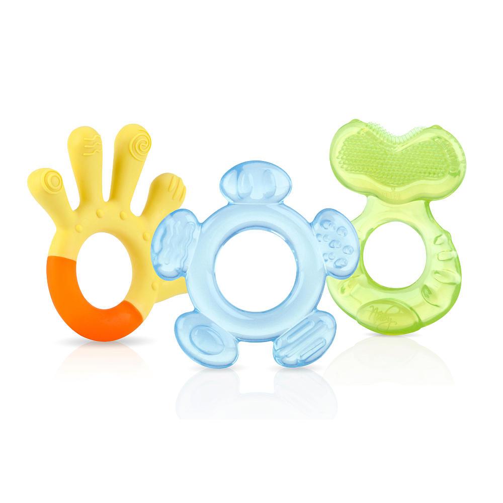 nuby 3 step teether set soothing baby teething gel infant toy  3 months 3 pack