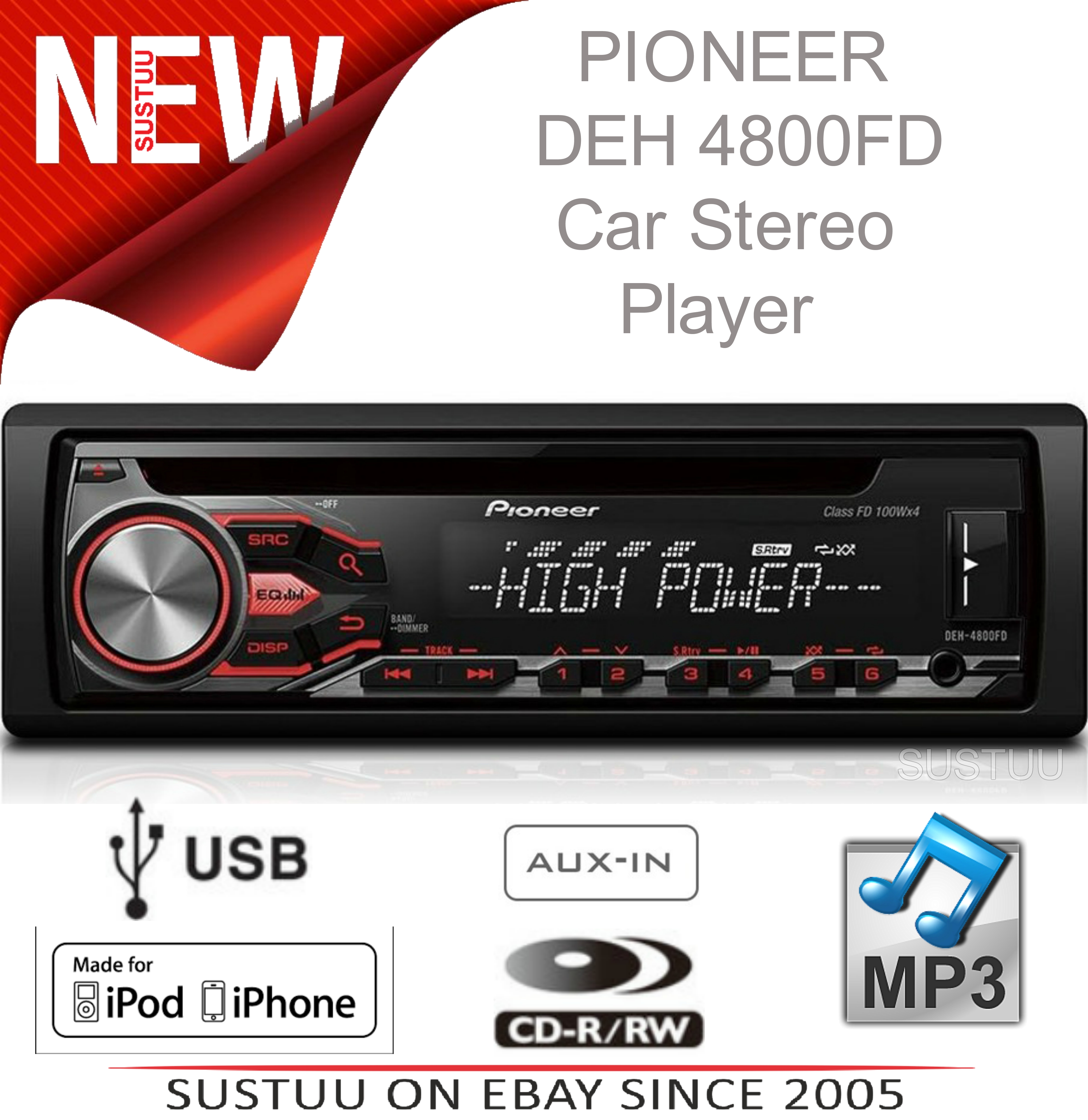 New Pioneer Car Stereo Rds Tuner Usb Aux Iphone Direct Control  U0026 Android