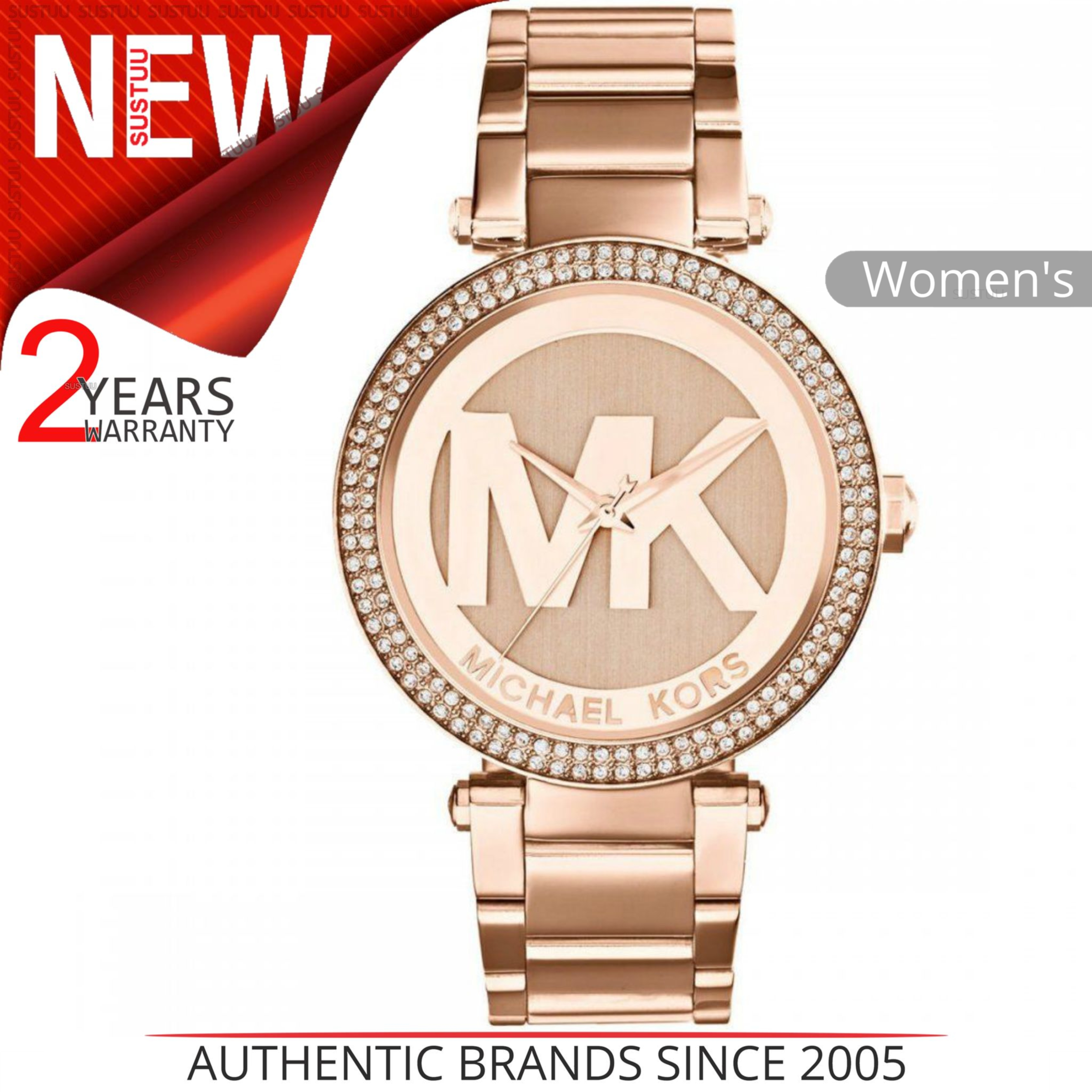 e38ee718477e Details about Michael Kors Parker Women s Watch MK5865│Rose Gold MK Logo  Dial│Bracelet Band