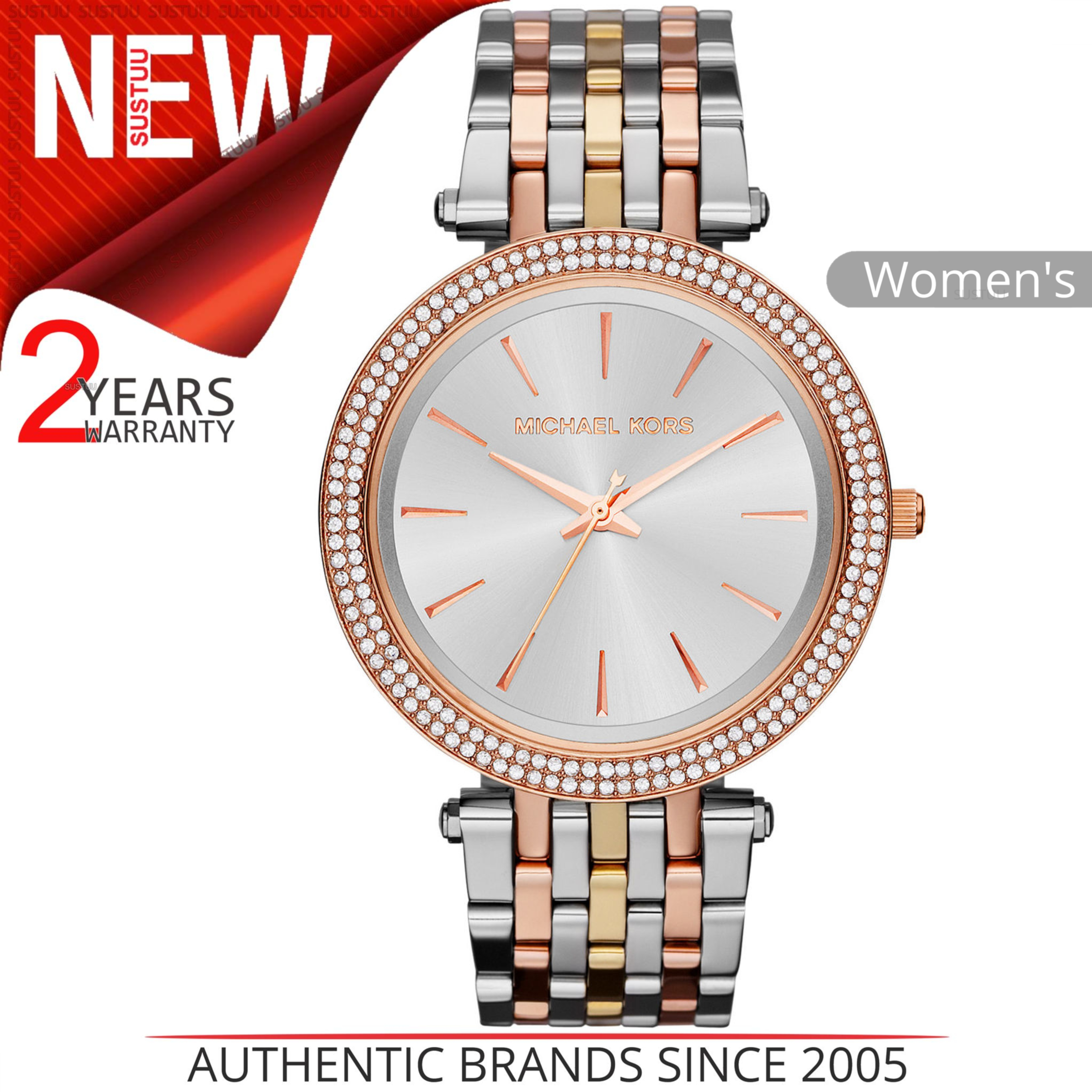 aa643d8f6ad8 Details about Michael Kors Darci Ladies Watch│Round Silver Dial│Tri Tone  Bracelet Strap│MK3203