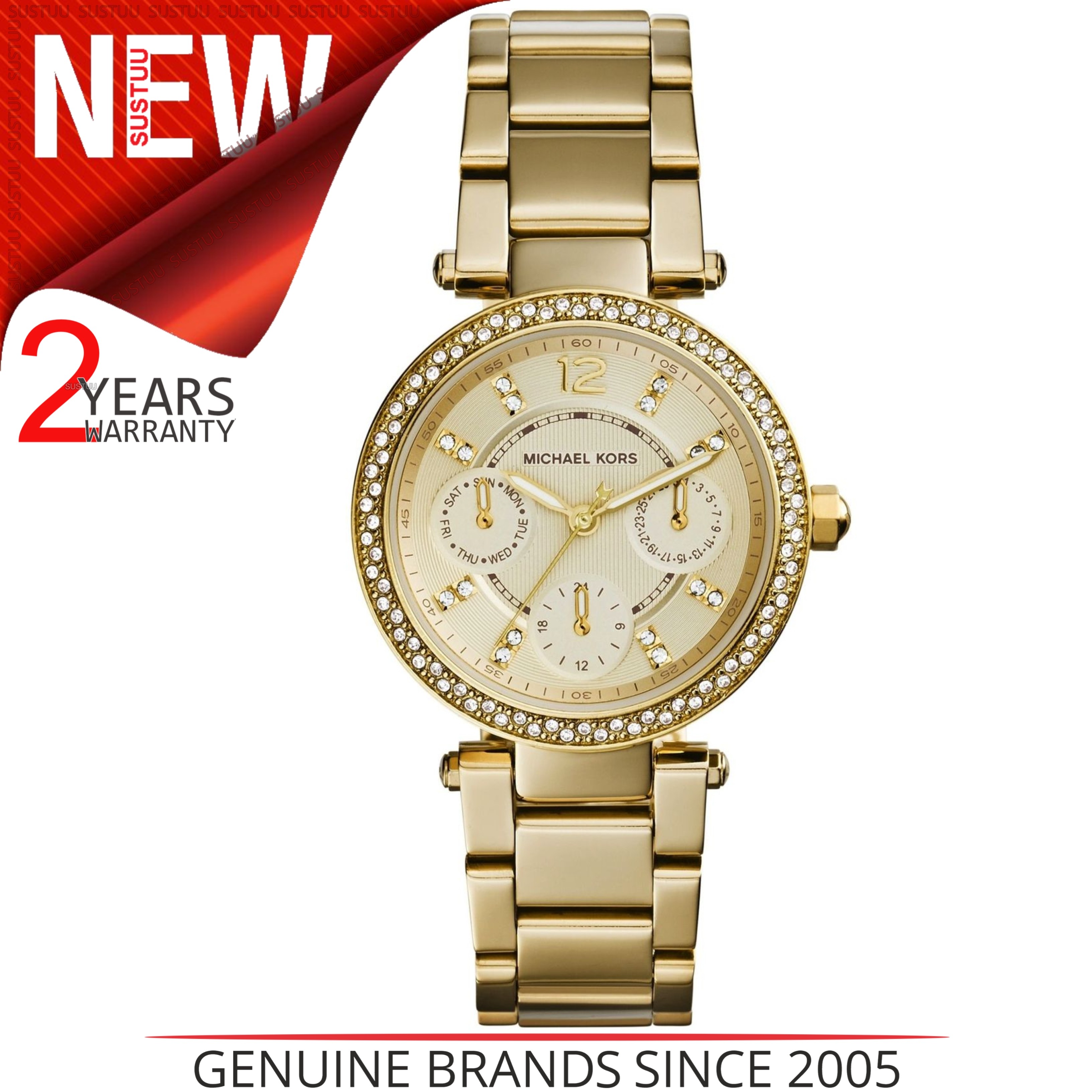 83ec528ee3e1 Details about Michael Kors Ladies Gold-Tone Mini Parker Pavé Crystal  Calender Watch MK6056
