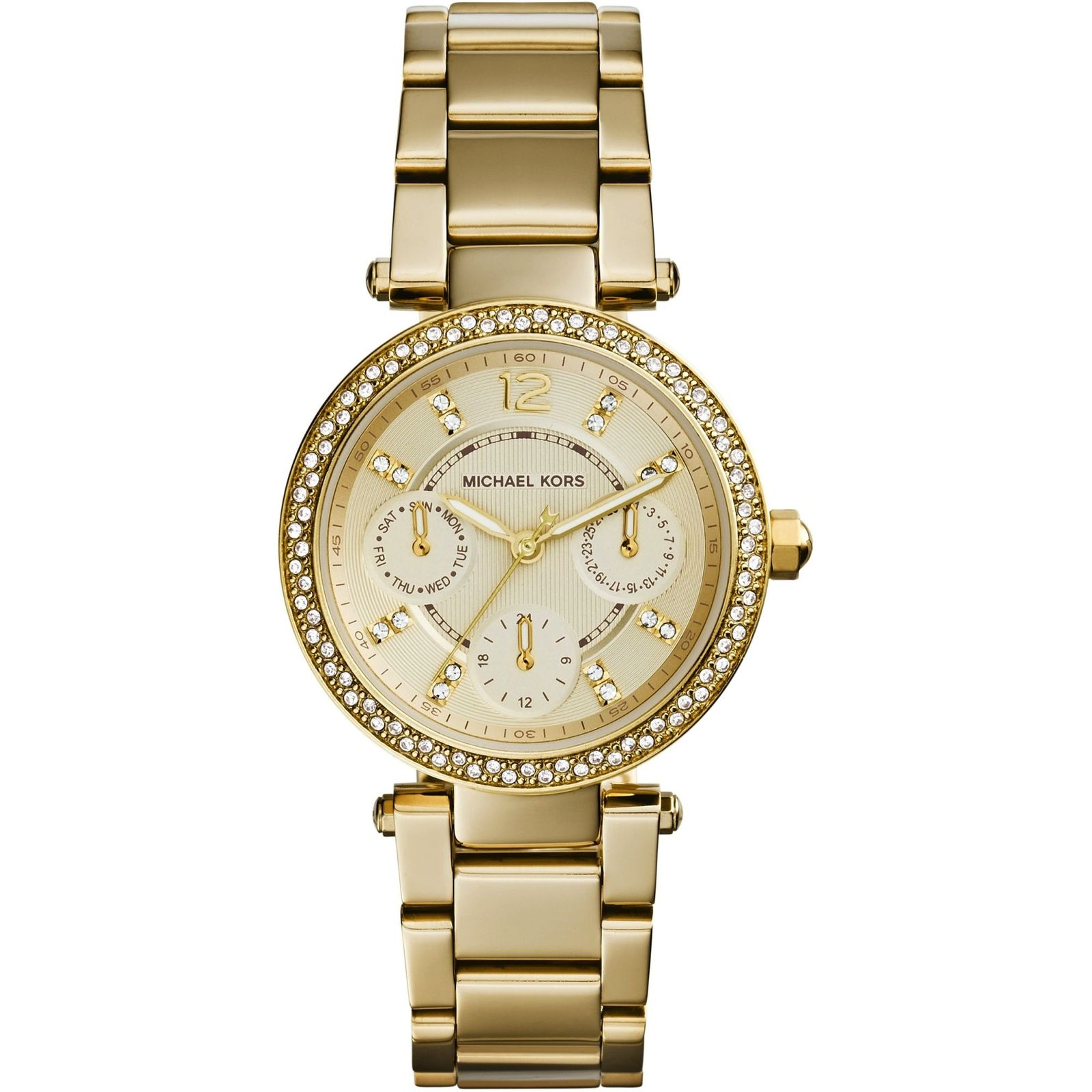 fce6af5bd988 Sentinel Michael Kors Ladies Gold-Tone Mini Parker Pavé Crystal Calender  Watch MK6056