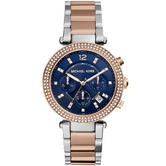 Michael Kors Parker Ladies' Two-Tone Navy Dial Chronograph Designer Watch MK6141