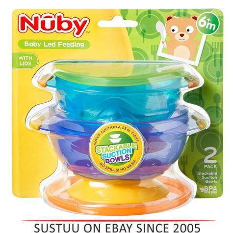 Nuby Stackable Suction Bowls Baby Weaning Spill Proof Food Container with Lids Thumbnail 1