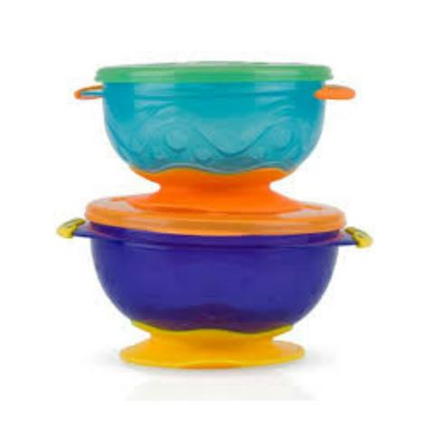 Nuby Stackable Suction Bowls Baby Weaning Spill Proof Food Container with Lids Thumbnail 4