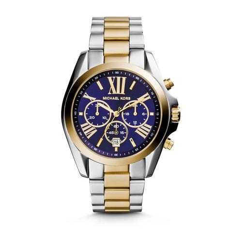 Michael Kors Ladies Blue 2-Tone Dial Bradshaw Chronograph Designer Watch MK5976 Thumbnail 1