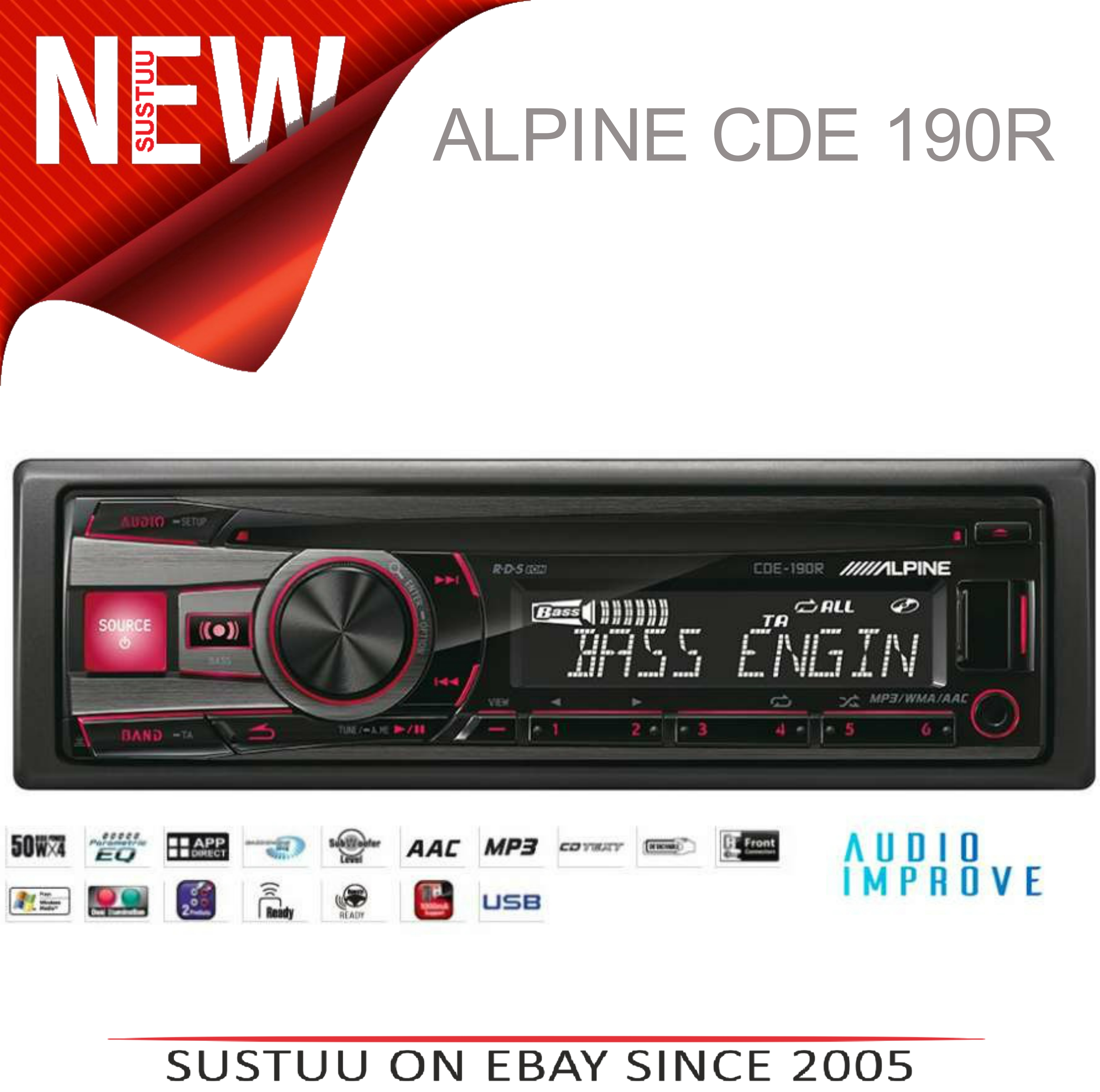Genuine Alpine CDE 190R Car Media Receiver autoradio CD/USB 2 rca out-display
