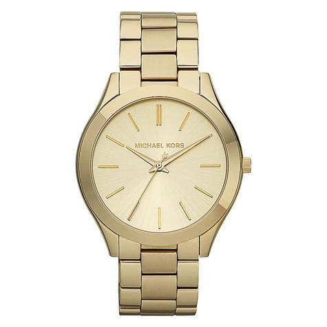 Michael Kors Ladies' Pavé-Embellished Gold-Tone Ultra-Slim Runway Designer Watch Thumbnail 4