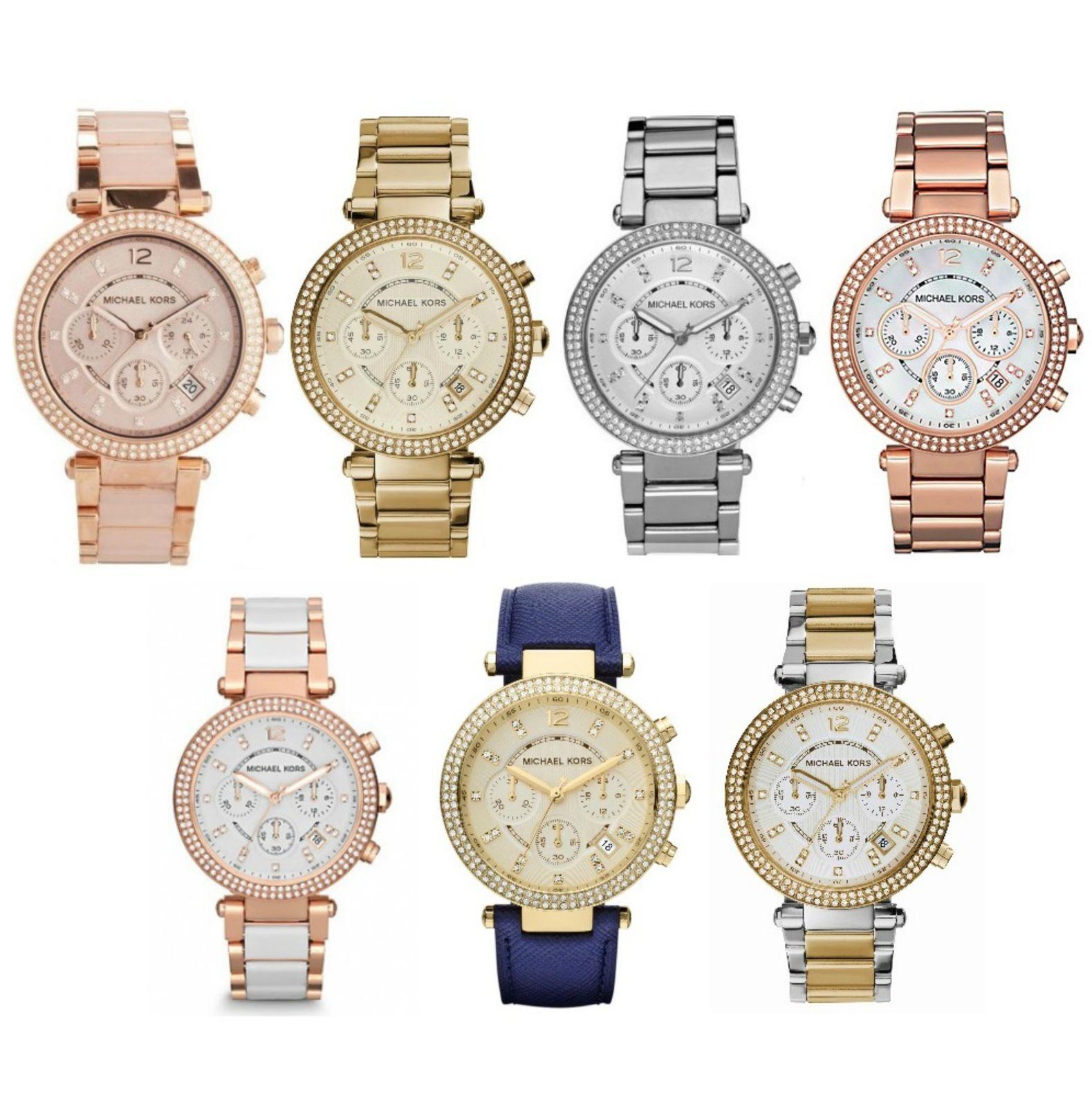 Michael Kors Ladies' Parker Stainless Steel Chronograph Diamond Designer Watches