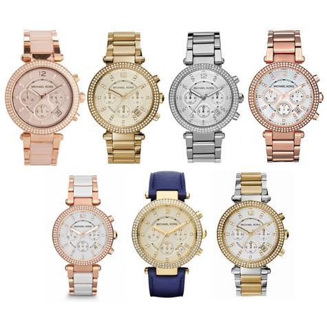 Michael Kors Ladies' Parker Stainless Steel Chronograph Diamante Designer Watch Thumbnail 1